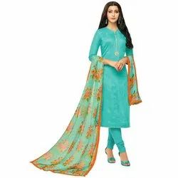 Rajnandini Turquoise Blue Chanderi Silk Printed Semi-Stitched Dress Material With Printed Dupatta