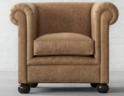 Oxford Chesterfield Single Seater Sofa in Desert Leather