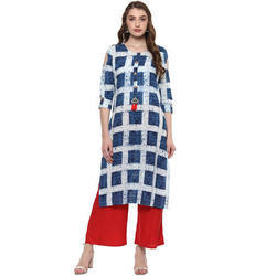 Cotton Blue and White Printed Kurti, Size: S, M & L