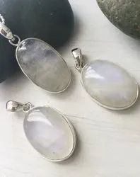 Rainbow Moonstone Bezel Set Pendant