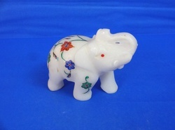 Marble Elephant with Inlay Work