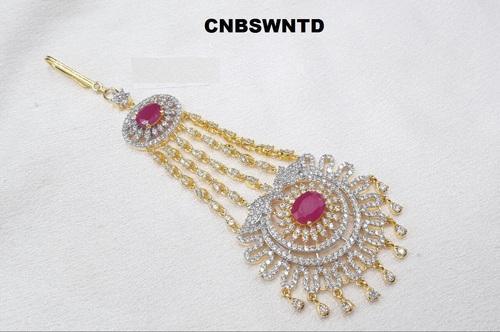Gold White Jhumar Passa Jhoomar Head Piece Jewellery Hair Pin Side Tikka Hair & Head Jewelry