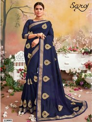 Royal Blue Designer Silk Border Saree
