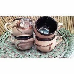 Brown Printed Ceramic Cup