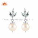 White Rhodium Plated Silver Pearl & Blue Topaz Gemstone Earring