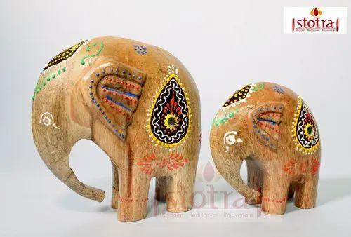Handcrafted Set of 2 Wooden Elephants
