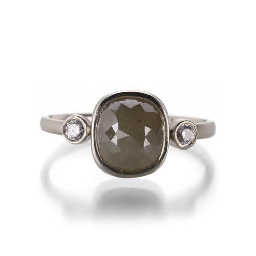 Jenu Jewel Natural Green Cushion Cut Rustic Diamond Engagement Ring