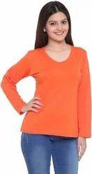 Plain Orange Cotton T Shirt