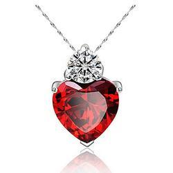 Red And Purple Austrian Crystal Jewelry Heart Shape 18K White Gold Plated