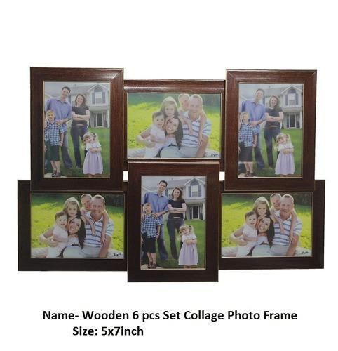 Wooden 6 Pcs Set Collage Photo Frame 5x7 Inch कलज