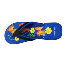 Fashion Ladies Rubber Printed Blue Slipper, Size: 5 to 8