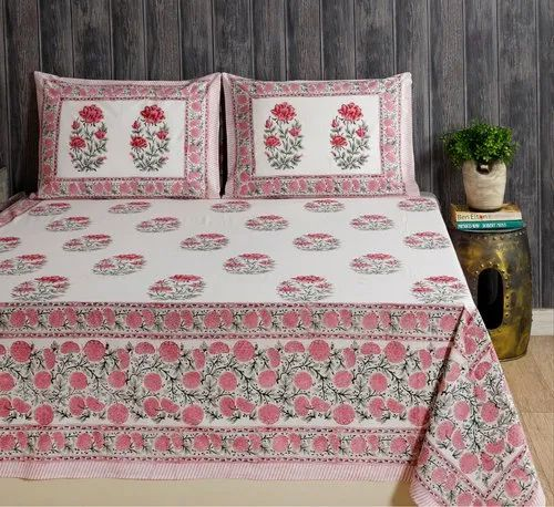Block Printed Bedsheet with 2 Pillow Cover