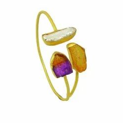 Rough Ametrine Citrine Gemstone Gold Filled Girls Adjustable Cuff Bangles