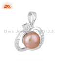 CZ Pink Pearl Gemstone Sterling Silver Pendant Jewelry