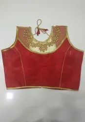 Red Art Silk Readymade Blouse