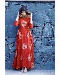 Ladies Orange Designer Anarkali Kurti