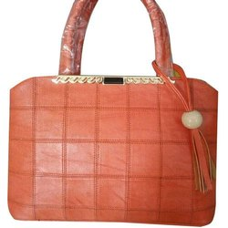 Faisal Raza Brown Leather Ladies Fancy Handbag