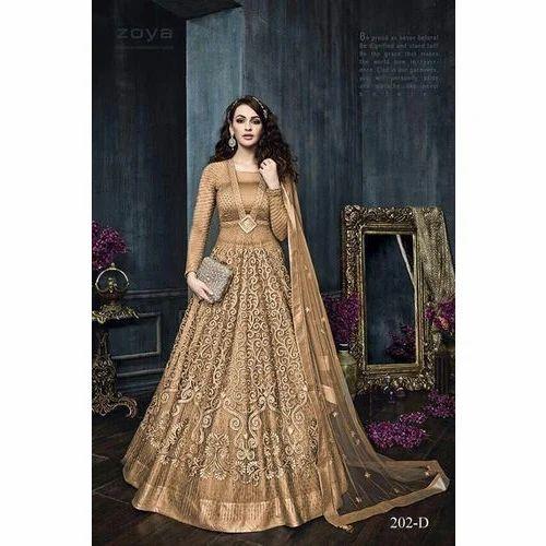 69281b8990e Silk Golden Color Ladies Full Sleeves Floor Length Suit