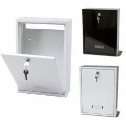 White, Black Steel Letter Box, Lock With Two Keys, Size: Standard
