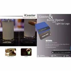Coaster & Bottle Opener with Light Up Logo