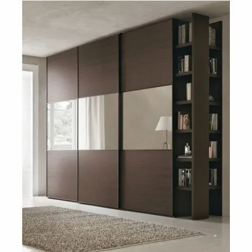 Plywood Modern Modular Designer Sliding Wardrobe, Size/Dimension: 4
