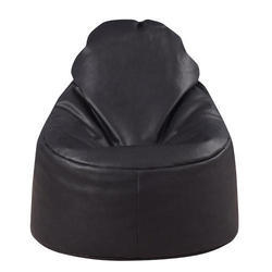 Black Leatherette Bean Bag Chair, Size: L