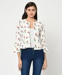 Cotton Floral Printed Bell Sleeves Jacket