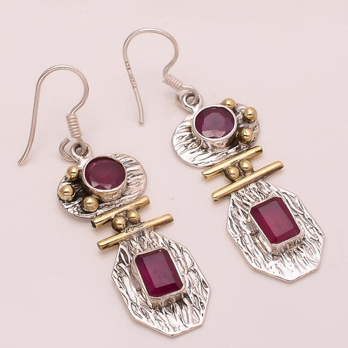 fc5b14ba1 925 Solid Sterling Silver Copper Ruby Earring, स्टर्लिंग ...