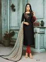 Black Chanderi Cotton Embroidered Semi-Stitched Salwar Kameez With Bottom And Chiffon Dupatta