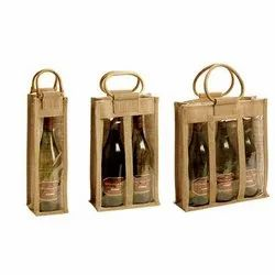 3 Bottle Jute Cotton Wine Tote Bags