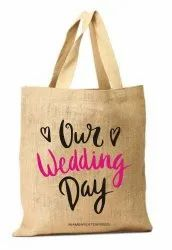 Natural Printed Jute Bags Wedding Gift Packs, Size/Dimension: Custom, Capacity: Custom Size
