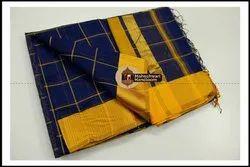 6.3 m (with blouse piece) Maheshwari Silk Maheshwari Checks Body Silk Saree