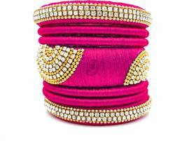 Pink Handmade Silk Thread Bangle Set