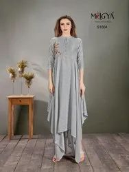 Designer Grey Kurti with Drappes
