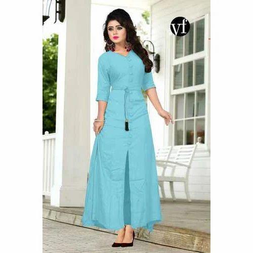 b4788f0e4fe Sky Blue Heavy Rayon Ladies Western Dress