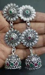 Jewell18.com Long oxidised earring Silver Jewellery, Size: Long Flower Earrings, 40 Gram