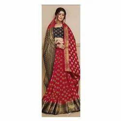 Zari Work Party Wear Ladies Assorted Sangam Silk Saree, 6.3 M (with Blouse Piece)
