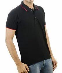 Male Cotton Plain Half Sleeve Collar T-Shirt, Polo Neck, Size: S To 2xl
