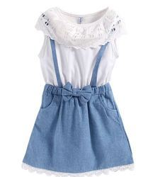 White Top With Blue Skirt