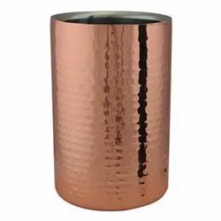 Copper Plated Stainless Steel Hammered Double Wall Wine Cooler Chiller Holder
