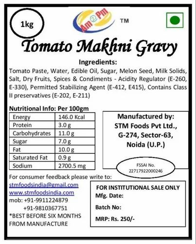 Tomato Makhani Gravy, Packaging: 1 kg