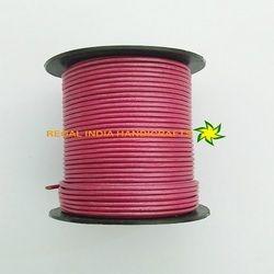 Metallic Pink Round Leather Cord