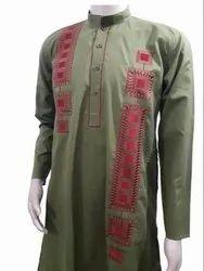 Pista Green Cotton Mens Designer Kurta, Size/Dimension: Large