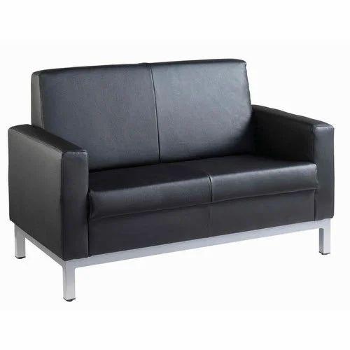 Black 2 Seater Leather Sofa, Maharashtra Gadi Karkhana And Sofa ...
