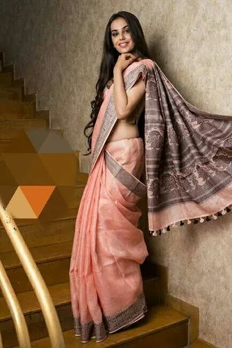 Casual Wear Border Linen Printed Sarees, Machine Made, 6.3 m (with blouse piece)