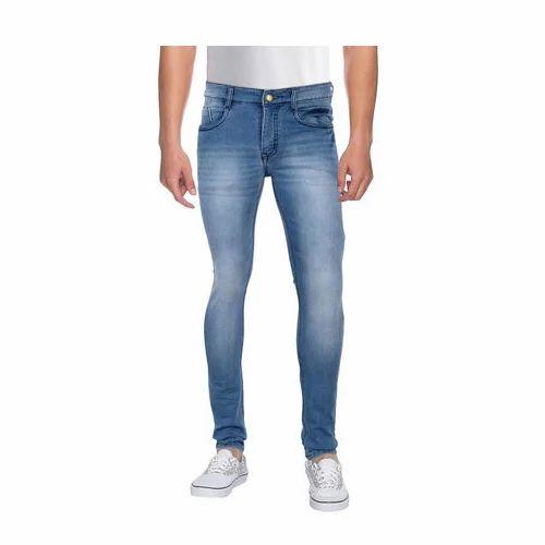 6df6c4757c Light Blue Casual Wear Faded Mens Jeans
