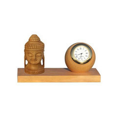 Brown Buddha With Clock Table Top