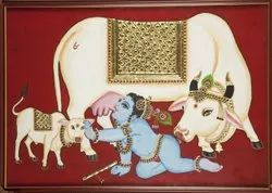 Krishna with cow Tanjore Painting