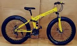 Porsche Yellow Fat Tyre Foldable Cycle