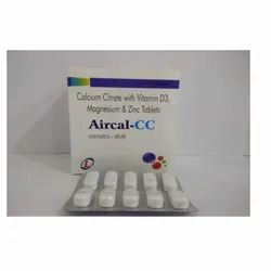 Aircal CC Calcium Citrate Vitamin D3 Zinc and Magnesium Tablets, Packaging Type: Blister